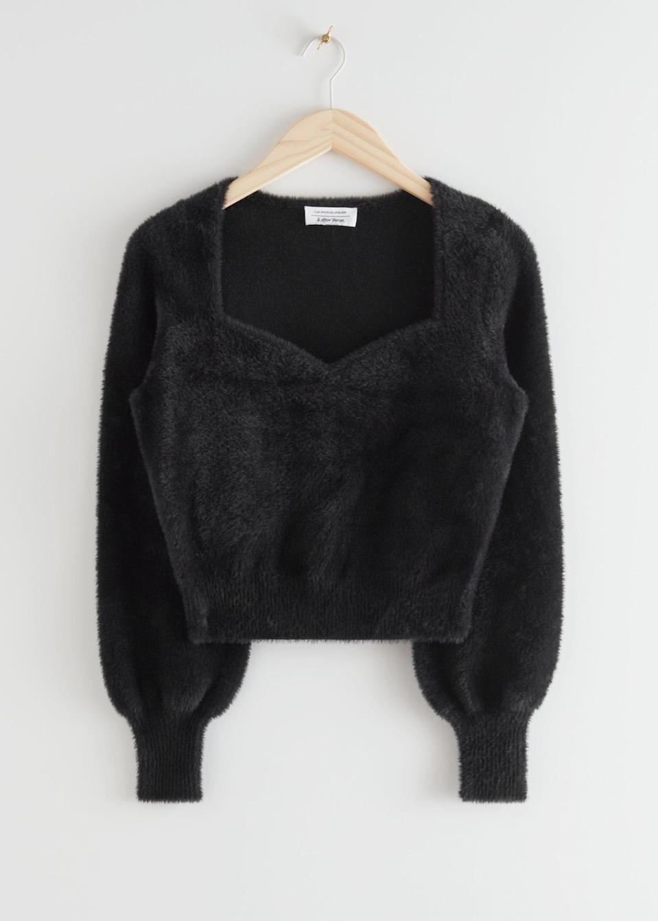 <p>This <span>&amp; Other Stories Cropped Sweetheart Neck Sweater</span> ($44, originally $89) is romantic and sweet.</p>