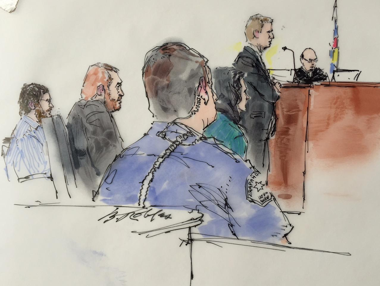Arapahoe County District Attorney George Brauchler speaks as Defence attorney Dan King (2ndL), James Holmes (L) and Judge Carlos Samour, listen in Arapahoe County District Court in Denver, Colorado on February 11, 2015, in this courtroom sketch. Lawyers in the murder trial of Colorado theater gunman James Holmes are set to begin individual questioning of prospective jurors in the death-penalty case on Wednesday, a process scheduled to take four months to complete.  REUTERS/Bill Robles  (UNITED STATES - Tags: CRIME LAW) NO SALES. NO ARCHIVES. FOR EDITORIAL USE ONLY. NOT FOR SALE FOR MARKETING OR ADVERTISING CAMPAIGNS