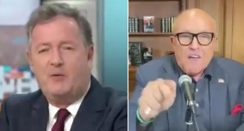 Pictured is Piers Morgan and Rudy Giuliani going head to head on Good Morning Britain.