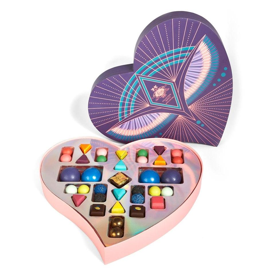 "<h2>Vosges Chocolates Grand Baset Tower</h2><br>Vosges Chocolate is famous for its innovative reworks of the basic chocolate truffle. Inside this Valentine's Day edition gift box is a plethora of new fruity, dark, and sweet flavors to try. You can pre-order any of the treasures from Vosges' limited-edition <a href=""https://www.vosgeschocolate.com/collections/sacred-love-valentines-day-collection"" rel=""nofollow noopener"" target=""_blank"" data-ylk=""slk:Sacred Love Valentine's Day Collection"" class=""link rapid-noclick-resp"">Sacred Love Valentine's Day Collection</a> and get 15% off with the code <strong>SACRED15</strong>.<br><br><em>Shop</em> <strong><em><a href=""https://www.vosgeschocolate.com/"" rel=""nofollow noopener"" target=""_blank"" data-ylk=""slk:Vosges Chocolates"" class=""link rapid-noclick-resp"">Vosges Chocolates</a></em></strong> <br><br><strong>Vosges Chocolate</strong> Grand Bastet Tower, $, available at <a href=""https://go.skimresources.com/?id=30283X879131&url=https%3A%2F%2Fwww.vosgeschocolate.com%2Fcollections%2Fsacred-love-valentines-day-collection%2Fproducts%2Fgrand-bastet-tower"" rel=""nofollow noopener"" target=""_blank"" data-ylk=""slk:Vosges Chocolate"" class=""link rapid-noclick-resp"">Vosges Chocolate</a>"