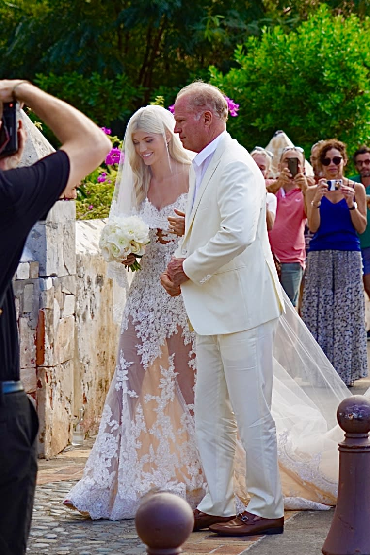 Devon Windsor arrives to her wedding at the church in St Barts.
