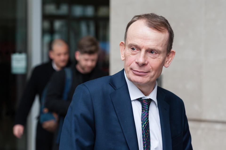 Political commentator and tough interviewer Andrew Marr is still in the top 10 at number 7 despite seeing his salary cut to £390,000 – £394,999. (Credit: Barcroft Media via Getty Images)