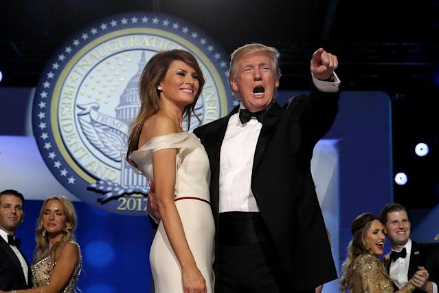 <p>U.S. President Donald Trump dances with first lady Melania Trump during the inaugural Freedom Ball at the Washington Convention Center January 20, 2017 in Washington, DC. The ball is part of the celebrations following Trump's inauguration. (Chip Somodevilla/Getty Images) </p>