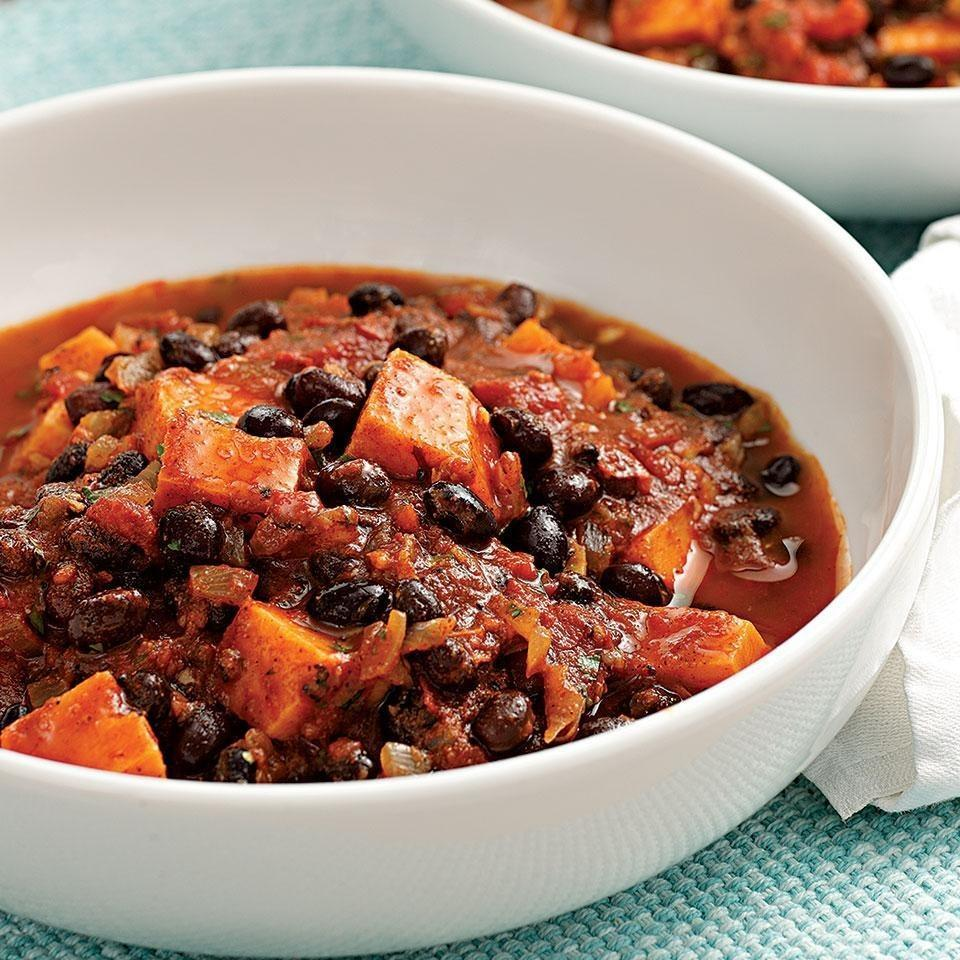 <p>Make a double batch of this quick vegetarian chili, full of black beans and sweet potatoes, and eat it for lunch the next day or freeze the extras for another night. We love the smoky heat from the ground chipotle, but omit it if you prefer a mild chili. Serve with tortilla chips or cornbread and coleslaw.</p>