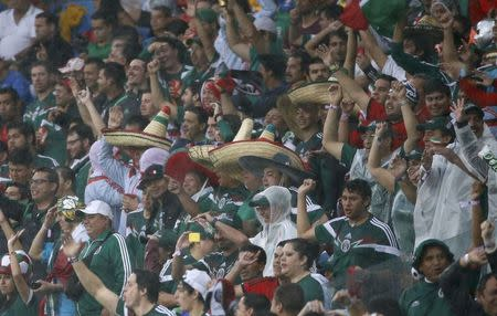 Mexico fans celebrate after Mexico's Oribe Peralta scored a goal during their 2014 World Cup Group A soccer match against Cameroon at the Dunas arena in Natal June 13, 2014. REUTERS/Jorge Silva