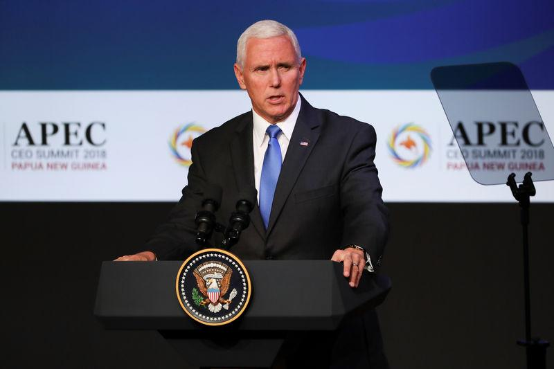 U.S. Vice President Mike Pence speaks during the APEC CEO Summit 2018 at Port Moresby, Papua New Guinea, 17 November 2018. Fazry Ismail/Pool via REUTERS