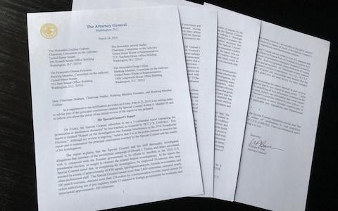 US attorney general William Barr's letter to congressional leaders on Robert Mueller's report - Credit: REUTERS/Jim Bourg