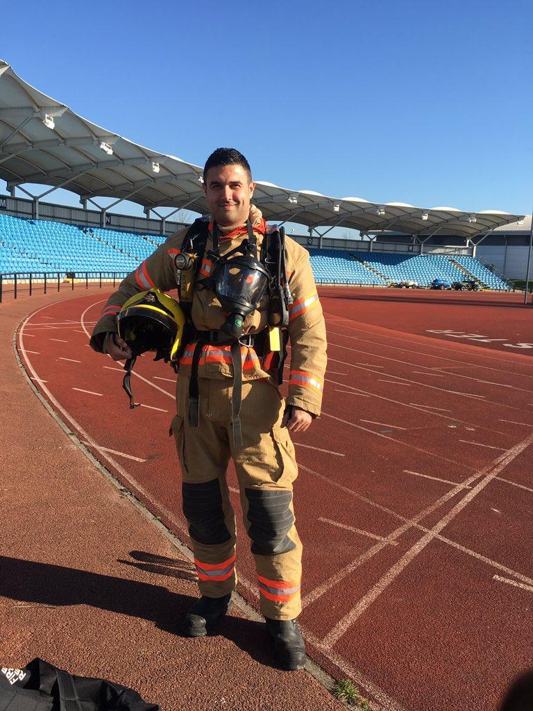 Aaron Parmer will run the final race in his full firefighter kit. (Aaron Parmer)