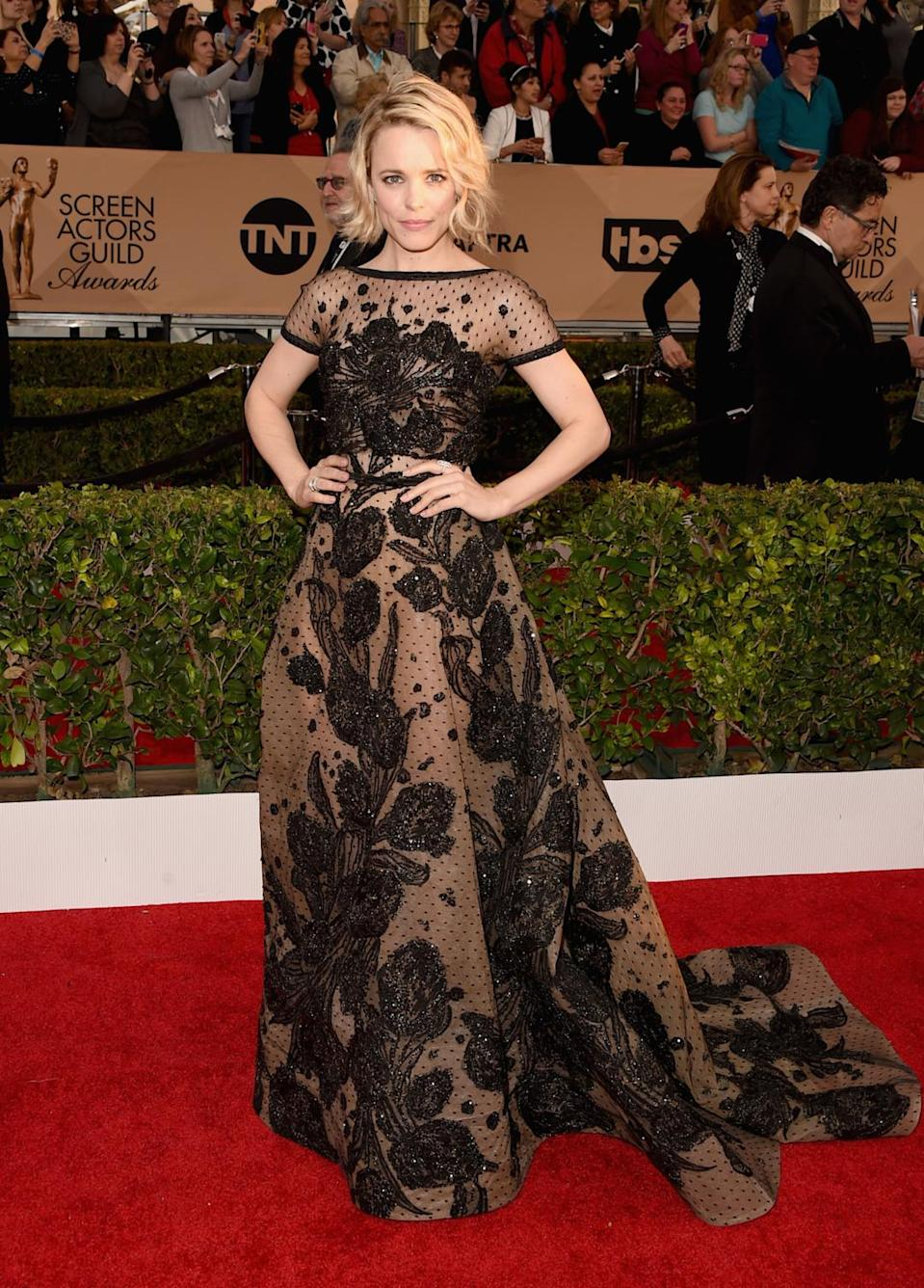 <p>Rachel McAdams looked lovely in an Elie Saab haute couture gown with swiss dot sheer details and floral embellishment. <i>Photo: Getty Images</i></p>