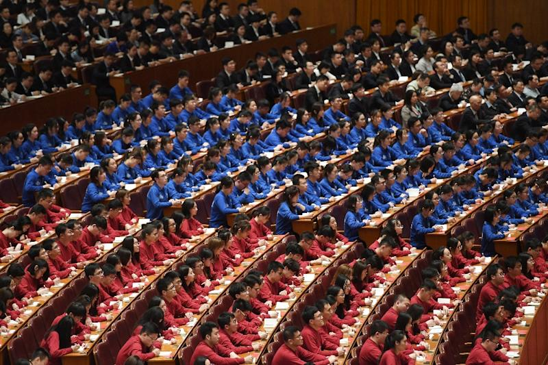 China President Xi Jinping delivered an hour-long speech at the Great Hall of the People (AFP Photo/GREG BAKER)