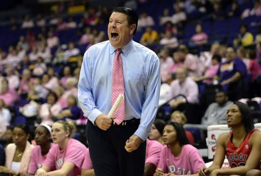 Georgia head coach Andy Landers shouts instructions to his players during the first half of an NCAA college basketball game at the Pete Maravich Assembly Center in Baton Rouge, La., Sunday, Feb. 10, 2013. (AP Photo/Bill Feig)