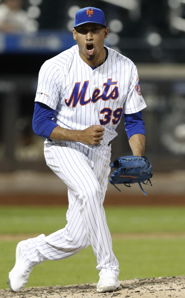 New York Mets relief pitcher Edwin Diaz reacts after closing out the Mets' 8-5 victory over the Atlanta Braves in a baseball game, Sunday, June 30, 2019, in New York. (AP Photo/Kathy Willens)