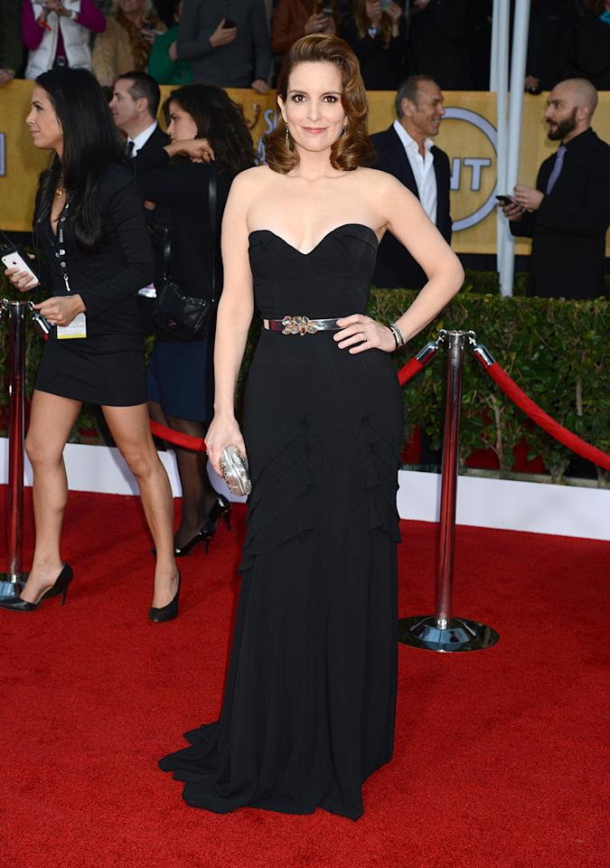 Tina Fey arrives at the 19th Annual Screen Actors Guild Awards at the Shrine Auditorium in Los Angeles, CA on January 27, 2013.