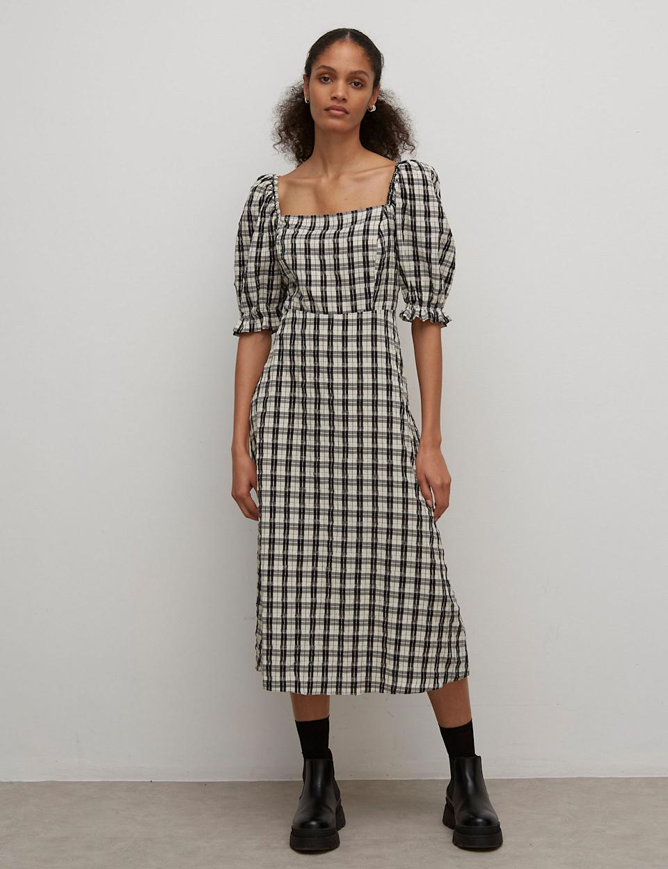 Checked Puff Sleeve Midi Waisted Dress