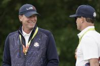 Team USA captain Steve Stricker talks to Zack Johnson at the Whistling Straits Golf Course Monday, Sept. 20, 2021, in Sheboygan, Wis. (AP Photo/Morry Gash)