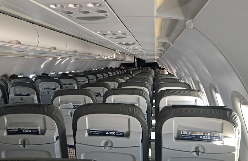 Empty seats on a flight from Frankfurt to Linz. (Photo by Bradley Collyer/PA Images via Getty Images)