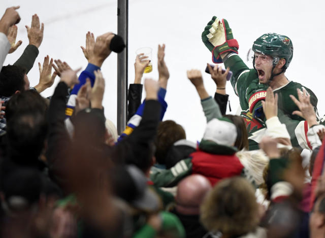 Minnesota Wild's Eric Staal (12) celebrates his goal against the Winnipeg Jets during the third period of an NHL hockey game Friday, Nov. 23, 2018, in St. Paul, Minn. (AP Photo/Hannah Foslien)