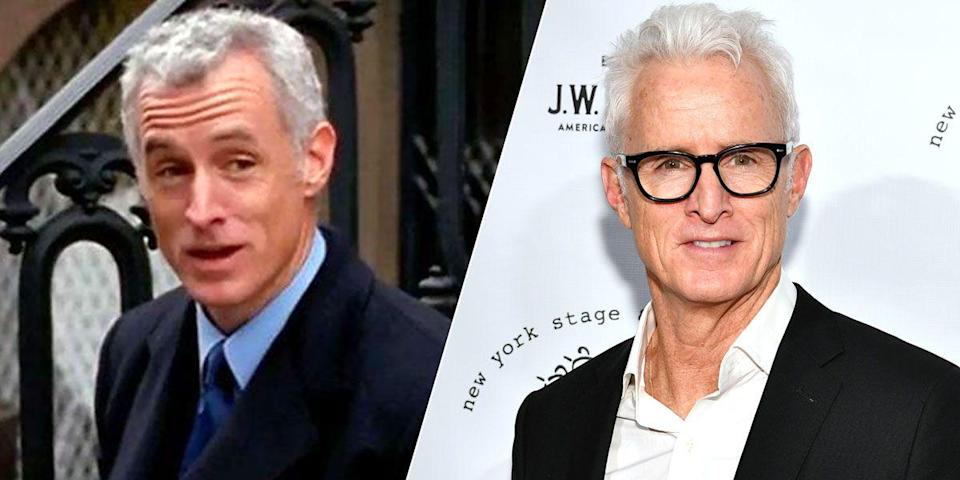 <p>Before suiting up to play Roger Sterling for <em>Mad Men</em>, John wore a suit to play Bill Kelley, the politician Carrie dates over two episodes in season 3. Carrie made the most out of a lukewarm situation: When Bill expressed an interest in having Carrie pee on him in the shower, she wrote about it in her column. John, who's enjoyed an extraordinary career in theater and film, continues to kick ass in all mediums. He recently played Fred Schlafly (Phyllis's husband) on <em>Mrs. America </em>and Howard Stark (Iron Man's dad) in <em>Avengers: </em><em>Endgame. </em></p>