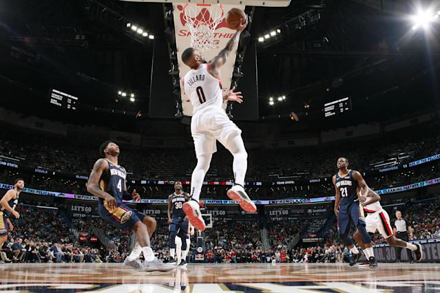 NEW ORLEANS, LA - MARCH 15: Damian Lillard #0 of the Portland Trail Blazers shoots the ball against the New Orleans Pelicans on March 15, 2019 at the Smoothie King Center in New Orleans, Louisiana. (Photo by Layne Murdoch Jr./NBAE via Getty Images)