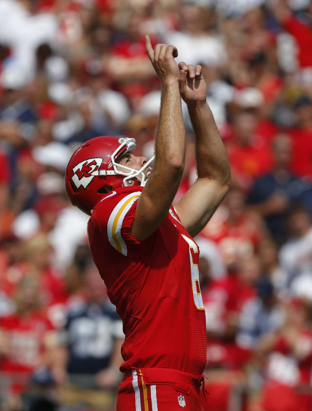 Kansas City Chiefs kicker Ryan Succop (6) celebrates a field goal during the second half of an NFL football game against the Dallas Cowboys at Arrowhead Stadium in Kansas City, Mo., Sunday, Sept. 15, 2013. (AP Photo/Ed Zurga)