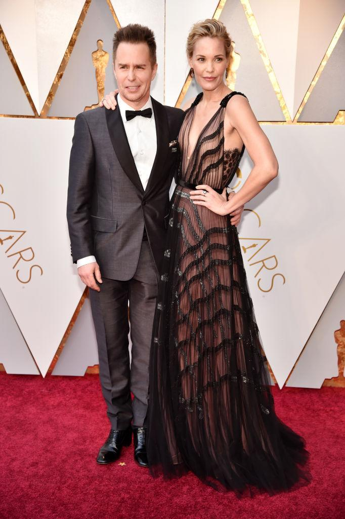 <p>Sam Rockwell and Leslie Bibb attend the 90th Academy Awards in Hollywood, Calif., March 4, 2018. (Photo: Getty Images) </p>