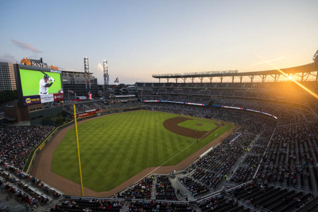 The Braves are trying to squeeze more money out of Cobb County for a stadium that the county paid to build them. (Photo by Logan Riely/Beam Imagination/Atlanta Braves/Getty Images)