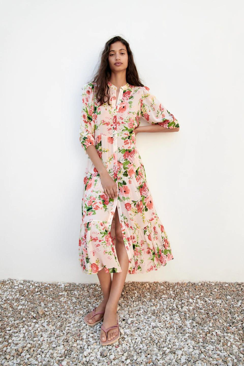 <p>Prepare to standout in this <span>Zara Floral Print Dress</span> ($70). It's pretty floral print and cute ruffles will surely turn heads.</p>