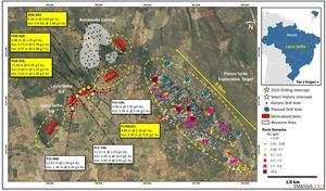 Lavra Velha project map showing main mineralized sectors, rock sample results and 2020 and historic drilling highlights for Lavra Velha Sul and Lavra Velha SW, reported as Au (g/t) over estimated true widths.