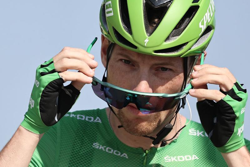 Team Deceuninck rider Irelands Sam Bennett wearing the best sprinters green jersey waits prior to the 19th stage of the 107th edition of the Tour de France cycling race 160 km between BourgenBresse and Champagnole on September 18 2020 Photo by KENZO TRIBOUILLARD AFP Photo by KENZO TRIBOUILLARDAFP via Getty Images