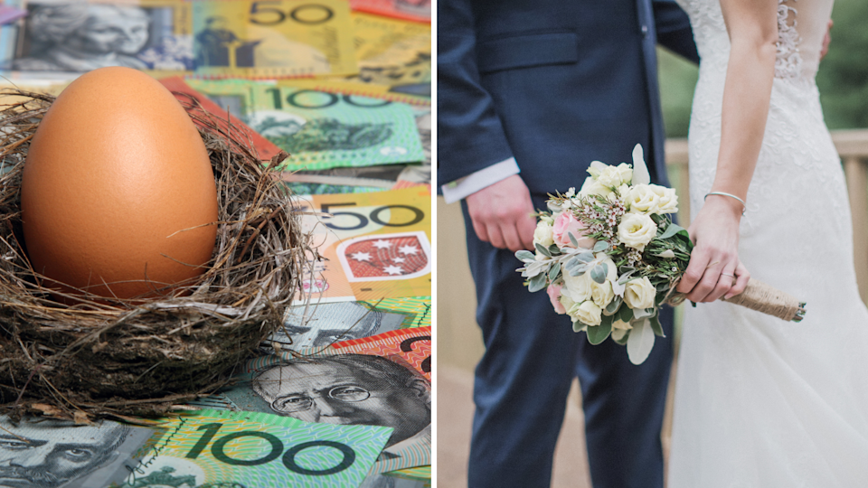 An egg sitting in a small nest on a background of Australian currency and a young couple of their wedding day.