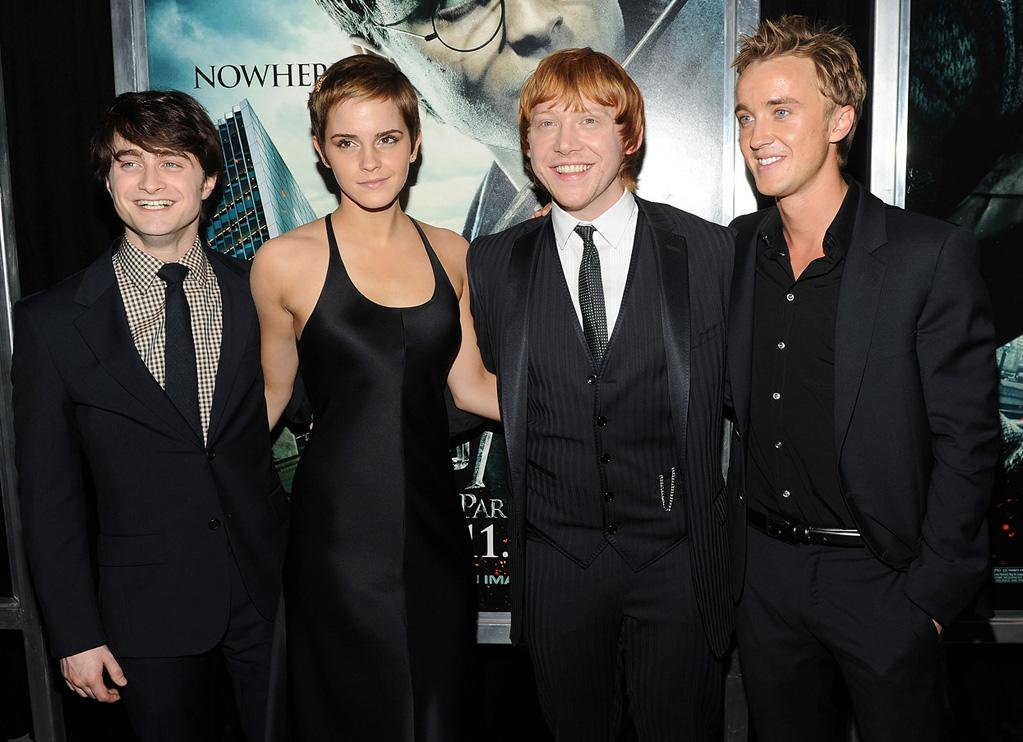 """<a href=""""http://movies.yahoo.com/movie/contributor/1802866080"""">Daniel Radcliffe</a>, <a href=""""http://movies.yahoo.com/movie/contributor/1802866081"""">Emma Watson</a>, <a href=""""http://movies.yahoo.com/movie/contributor/1802866082"""">Rupert Grint</a> and <a href=""""http://movies.yahoo.com/movie/contributor/1800308596"""">Tom Felton</a> attend the New York premiere of <a href=""""http://movies.yahoo.com/movie/1810004780/info"""">Harry Potter and the Deathly Hallows - Part 1</a> on November 15, 2010."""