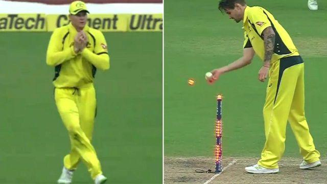 Smith takes the catch and Richardson completes the run-out. Image: Fox Sports