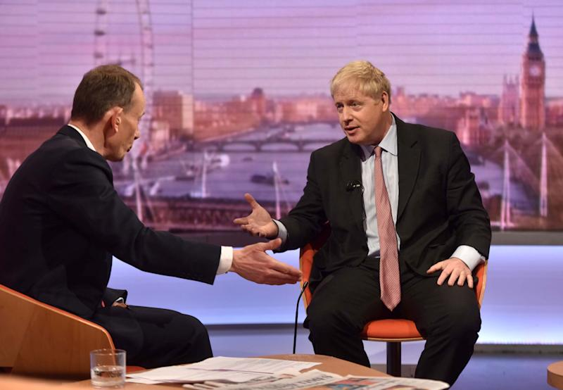 Boris Johnson, pictured here during a 2018 interview with Andrew Marr, has refused to commit to a TV interview with Andrew Neil.  (Photo: Handout . / Reuters)