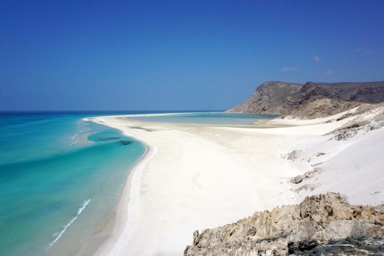 White sands cover a beach of Detwah Lagoon, on the far west of the Yemeni island of Socotra, listed as a wetland of global importance under the Ramsar convention