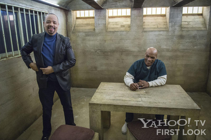 "LAW & ORDER: SPECIAL VICTIMS UNIT -- ""Monster's Legacy"" Episode 1414 -- Pictured: (l-r) Ice-T  as Detective Odafin ""Fin"" Tutuola, Mike Tyson as Reggie Rhodes"