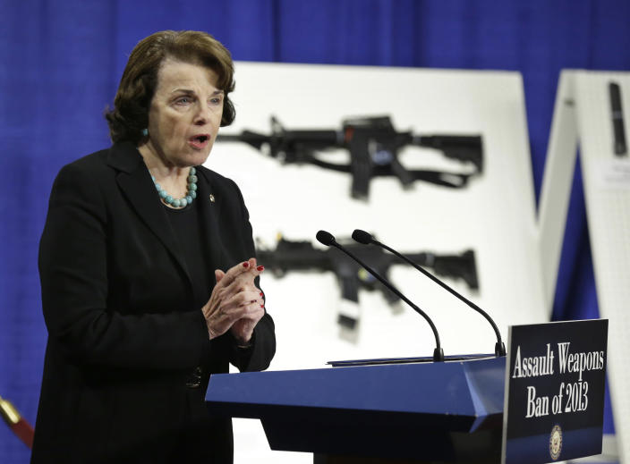 FILE - In this Thursday, Jan. 24, 2013, file photo, Sen. Dianne Feinstein, D-Calif., speaks during a news conference on Capitol Hill in Washington to introduce legislation on assault weapons and high-capacity ammunition feeding devices. U.S. District Judge Roger Benitez of San Diego ruled Friday, June 4, 2021, that the state's definition of illegal military-style rifles unlawfully deprives law-abiding Californians of weapons commonly allowed in most other states. California first restricted assault weapons in 1989, with multiple updates to the law since then. (AP Photo/Manuel Balce Ceneta, File)