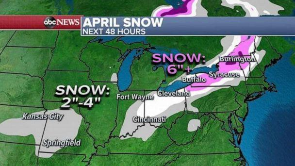 PHOTO: As the storm system moves into the Northeast, heavy snow will break out on the back side and northern side of the storm with more than half a foot of snow possible from Erie, Pennsylvania, to Buffalo, New York, and into northern New England. (ABC News)
