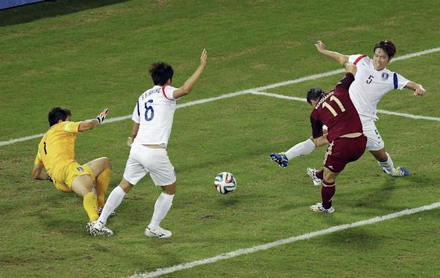 Russia's Alexander Kerzhakov (11) scores his side's first goal past South Korea's goalkeeper Jung Sung-ryong (1) and defenders Hwang Seok-ho (6) and Kim Young-gwon (5) during their group H World Cup soccer match at the Arena Pantanal in Cuiaba, Brazil, Tuesday, June 17, 2014. (AP Photo/Thanassis Stavrakis)