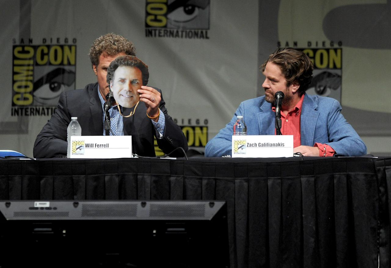 """SAN DIEGO, CA - JULY 14:  Actors Will Ferrell (L) and Zach Galifianakis speak at Warner Bros. Pictures and Legendary Pictures Preview of """"The Campaign"""" during Comic-Con International 2012 at San Diego Convention Center on July 14, 2012 in San Diego, California.  (Photo by Kevin Winter/Getty Images)"""