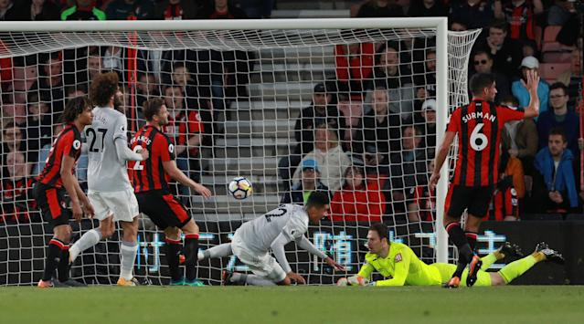 "Soccer Football - Premier League - AFC Bournemouth vs Manchester United - Vitality Stadium, Bournemouth, Britain - April 18, 2018 Manchester United's Chris Smalling scores their first goal REUTERS/Ian Walton EDITORIAL USE ONLY. No use with unauthorized audio, video, data, fixture lists, club/league logos or ""live"" services. Online in-match use limited to 75 images, no video emulation. No use in betting, games or single club/league/player publications. Please contact your account representative for further details."