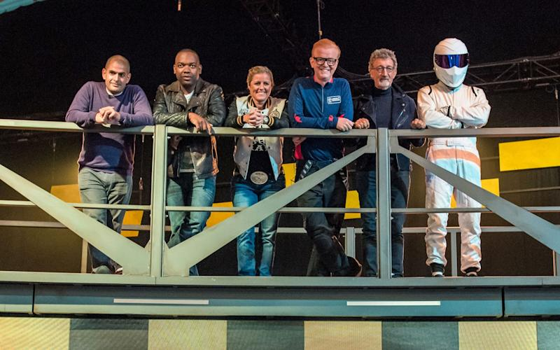 New Top Gear presenters: Chris Harris, Rory Reid, Sabine Schmitz, Chris Evans, Eddie Jordan, The Stig - Credit:  Mark Yeoman