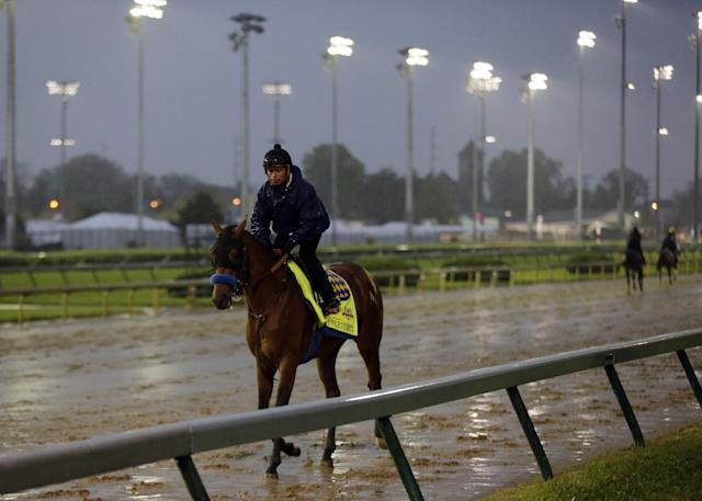 An exercise rider takes Kentucky Derby hopeful Hoppertunity for a morning workout at Churchill Downs Monday, April 28, 2014, in Louisville, Ky. (AP Photo/Charlie Riedel)