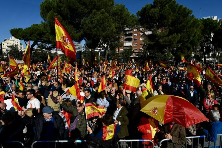 In October, some 20,000 people joined a Vox rally in Madrid where Abascal was speaking (AFP Photo/OSCAR DEL POZO)