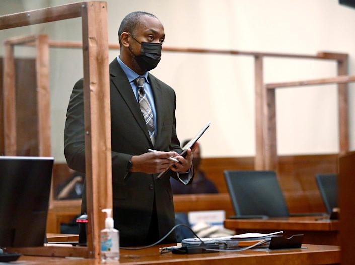 State assistant attorney general Anthony Pierson asks judge Stephen L. McIntosh for a high bond for former Columbus police officer Adam Coy, who is accused of murdering Andre Hill on Tuesday, Ferbruary 9, 2021.