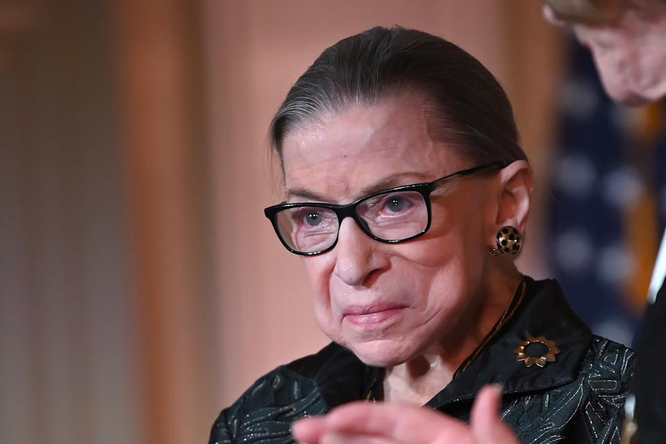 WASHINGTON, DC - FEBRUARY 14: Supreme Court Justice Ruth Bader Ginsburg is seen as she presents the Justice Ruth Bader Ginsburg Inaugural Woman of Leadership Award to Agnes Gund at The Library of Congress on February 14, 2020 in Washington, DC. (Photo by Shannon Finney/Getty Images)