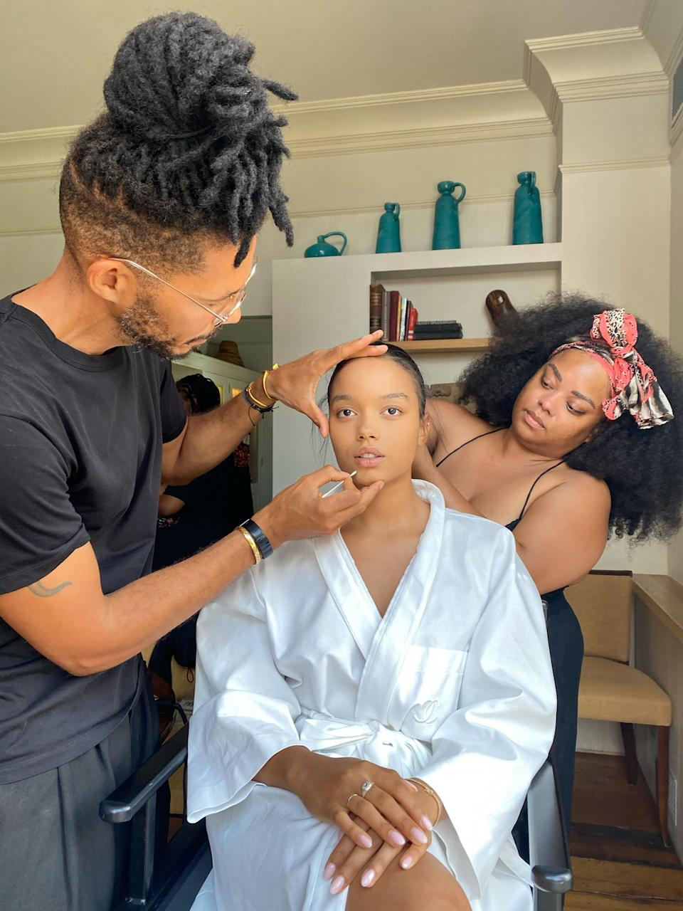 My glam team Naeemah and Tyron are working their magic on my hair and makeup. Their energy is so calming and their vibe so fun; it makes such a positive difference when getting ready and spending time in glam.