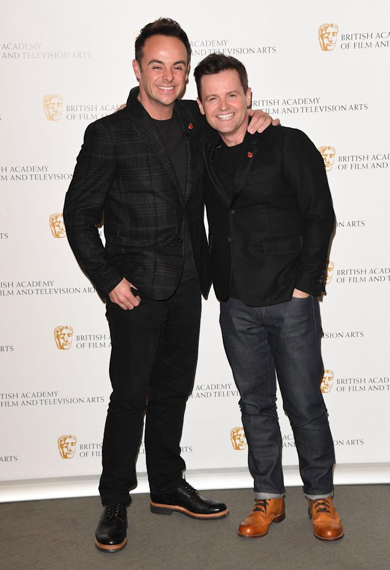 McPartlin with presenting partner Declan Donnelly at the launch of their new documentary (Getty Images)