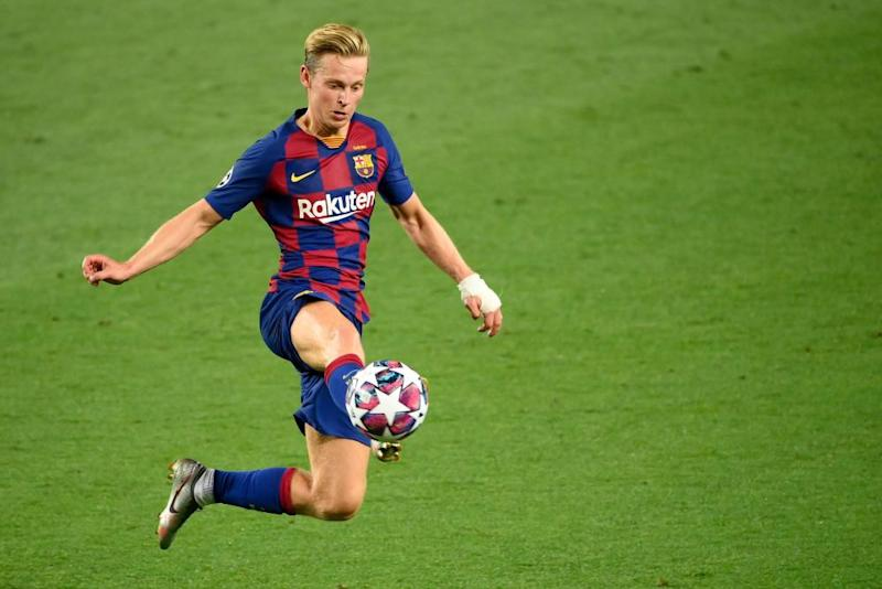 Barcelona's Frenkie de Jong controls the ball during their Champions League last-16 match against Napoli in August.