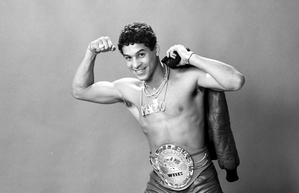 NEW YORK - JANUARY 3,1984: Hector Camacho poses with his belt during a portrait session in New York. (Photo by: The Ring Magazine via Getty Images)