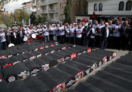 Demonstrators pray next to mock coffins during a protest against Russian and Iran in Ankara